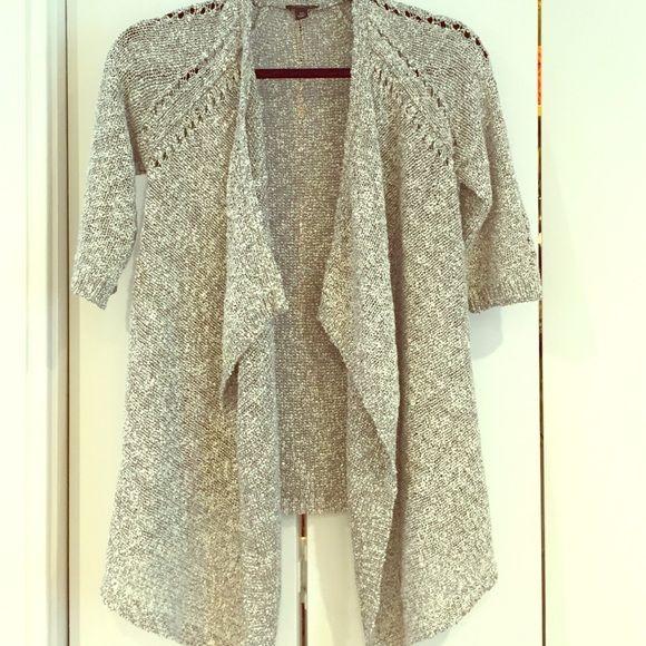 Ann Taylor Sweaters - Ann Taylor glitter thread gray open cardigan