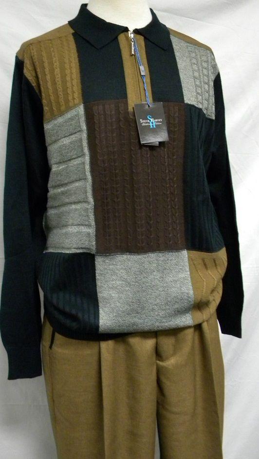 Steve Harvey Mens Dark Taupe Sweater Pants Outfit 6302