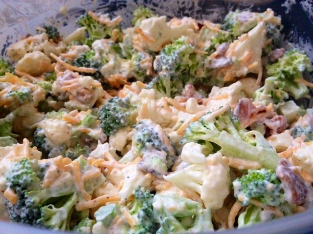 Amish Broccoli/Cauliflower Salad.... AMAZING! CUT BACK ON THE 1/2 c SUGAR CALLED FOR IN THIS RECIPE IF YOU WANT