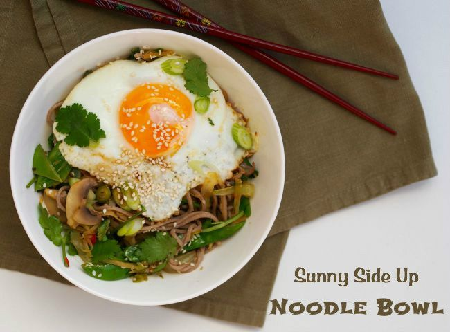 Really fast food - sunny side up noodle bowl
