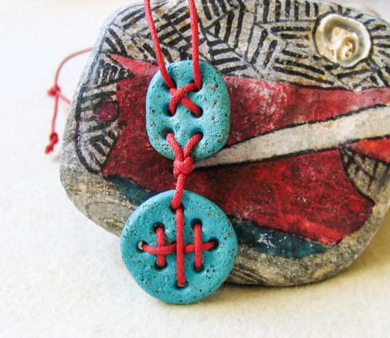 Dark Turquoise Red Ethno tribal Necklace by totalhandmadeD on Etsy, $25.00