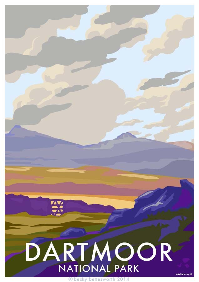 Dartmoor, Devon vintage style seaside travel poster, available at http://beckybettesworth.myshopify.com/