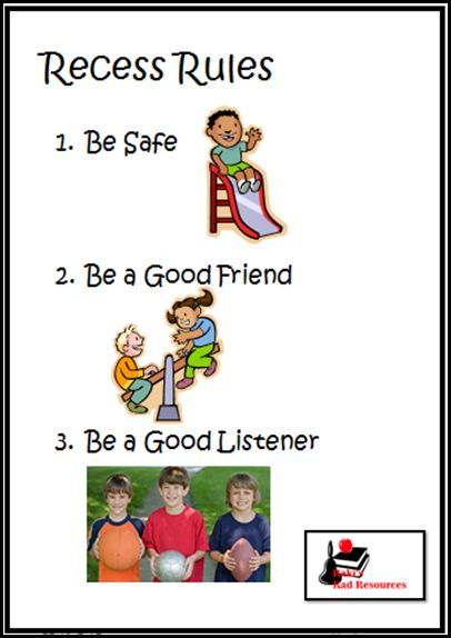 Recess Rules Poster from Raki's Rad Resources - Free Download