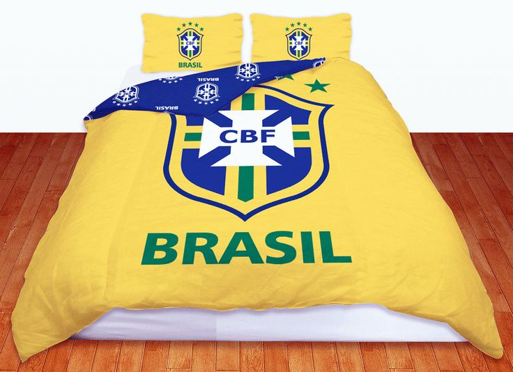 OFFICIAL BRAZIL FOOTBALL TEAM DOUBLE DUVET QUILT COVER BEDDING SET REVERSIBLE