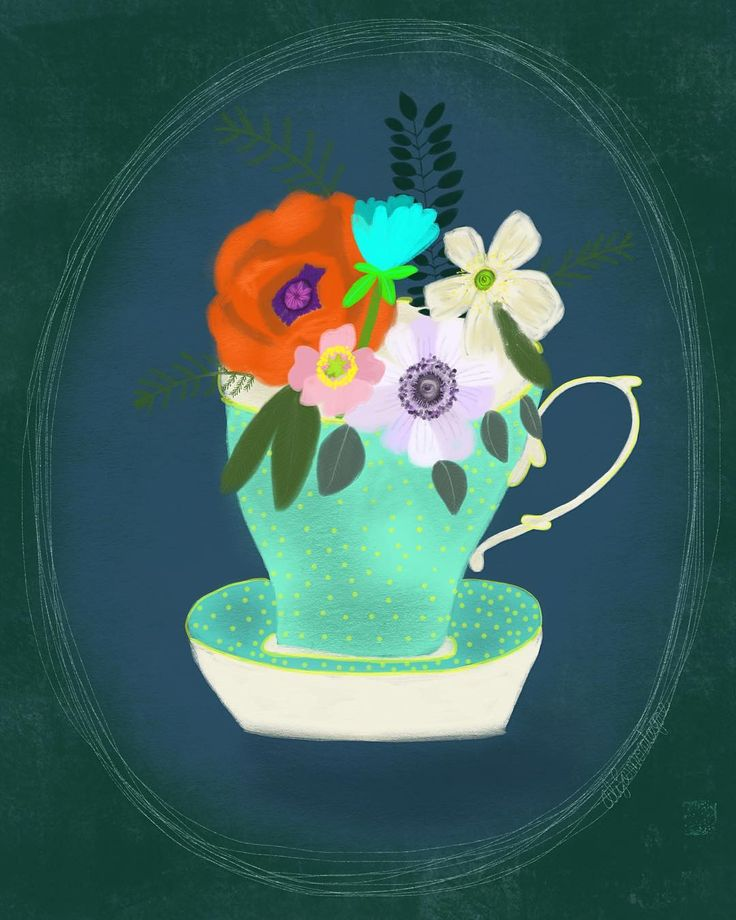 """Flowers floral teacup illustration drawing  Ali Lamontagne Illustration (@alilamontagneillustration) on Instagram: """"Flowers in a teacup. The vintage minty green and yellow of the teacup were my wedding colours, and…"""""""