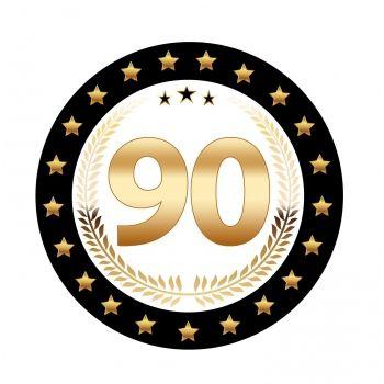 25 stuks Luxe Bierviltjes met 90 jaar opdruk. Zwart met goudkleurige uitvoering en dubbelzijdig bedrukt.