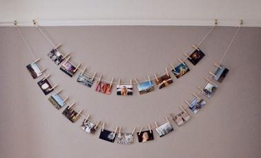 clothesline picture display.  laura miner.