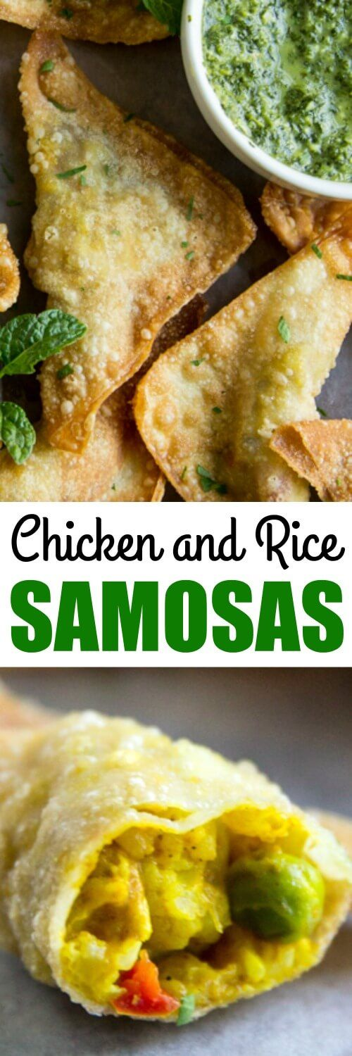 Indian Inspired Chicken and Rice makes a great filling for Samosas! Make these deep-fried curry-flavored appetizers with wonton wrappers and serve with homemade cilantro mint sauce.
