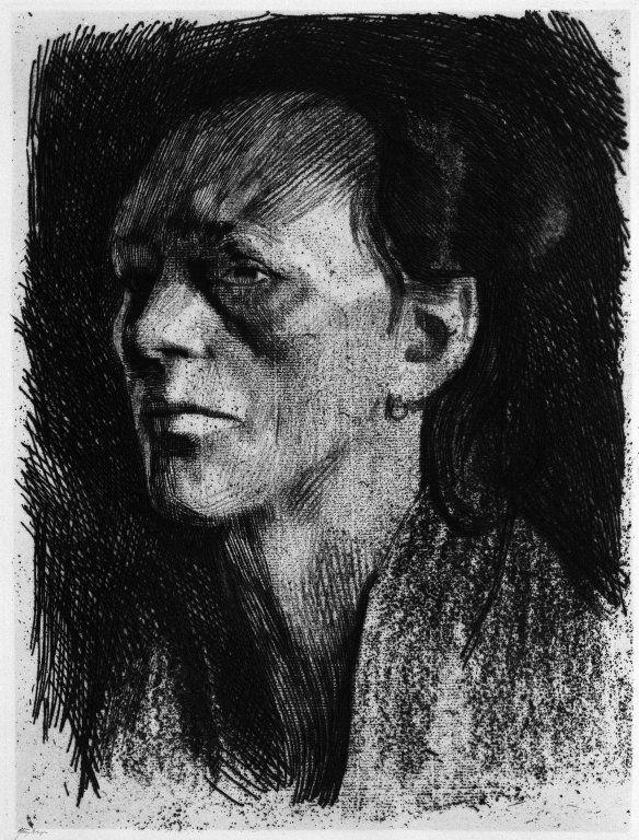 Kathe Kollwitz, Working Woman with Earring, Arbeiterfrau mitt deem Ohrring, 1910, soft ground etching