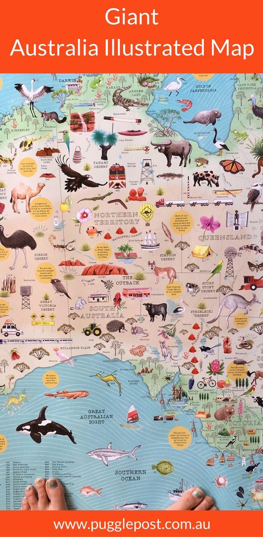 Giant Map Of Australia.Australia Illustrated Map Australia Day Inspiration Australia