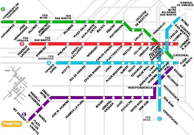 Mapa del Subte de Buenos Aires sin calles