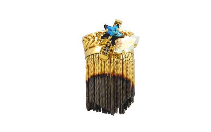 Crystals Fringe Ring - 24 Kt Gold plated shading brass.Swarovski Crystals.Hand Made in Italy
