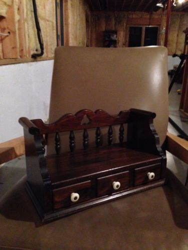 Captivating Unique ETHAN ALLEN Dark Antiqued Pine Old Tavern Dresser  Jewelry Box Wall Shelf