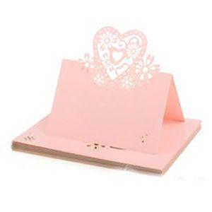 Søde lyserøde bordkort med hjerter til dit fest til din barnedåb, babyshower, bryllup, konfirmation og fødselsdag.