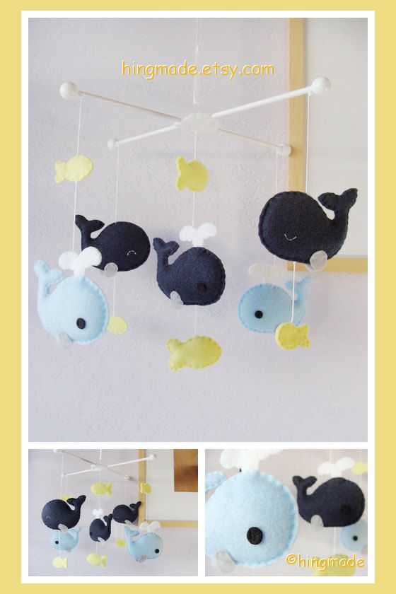 Whale Mobile - Baby Mobile - Nursery Crib Mobile - Fish Mobile - Serene Sea - Navy Blue Whale family and Yellow fish (You pick your colors)