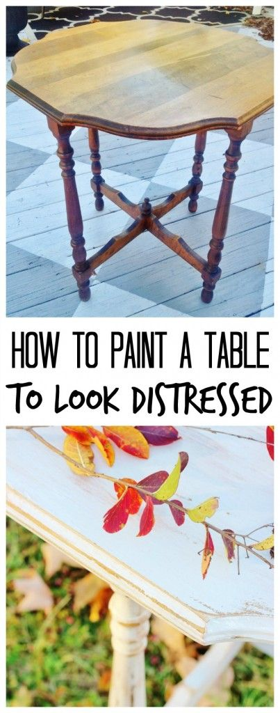 How to paint a table to look distressed. Simple step-by-step tutorial on how to transform a basic yard sale table into something amazing. Easy DIY project.