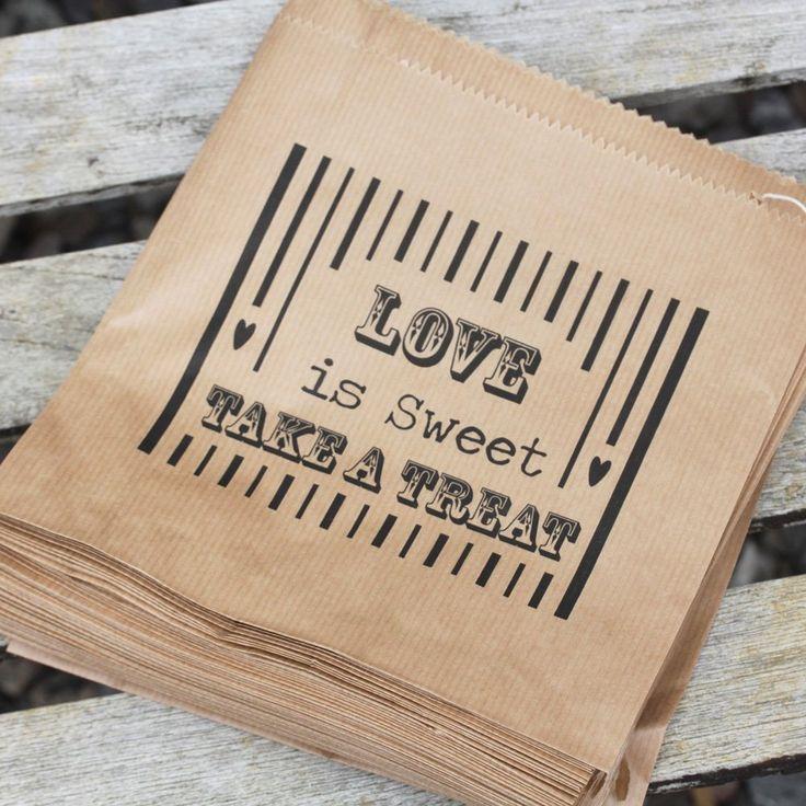 Luck and Luck Papiertten, Aufschrift Love is Sweet, ideal fr Hochzeiten, Braun, 90 Stck: Amazon.de: Küche & Haushalt