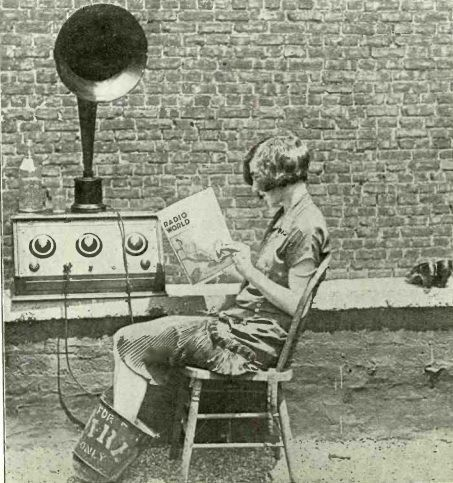 Listening to the radio up on the roof, 1925.
