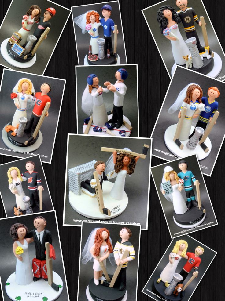 Wedding Anniversary Gift, Hockey Bride and Groom Wedding Cake Topper, Hockey Marriage Figurine    Hockey Wedding Cake Topper, custom created for you! Handmade to your specifications by magicmud.com of kiln fired clay. Perfect one of a kind personalized keepsake for a NHL Hockey Wedding.    $235 #magicmud 1 800 231 9814 www.magicmud.com