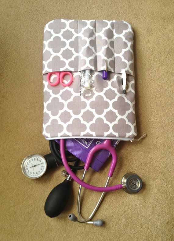 RN NURSING PURSE / AnyCase - nurse organizer stethoscope travel case in gray and white lattice (nurse purse, teachers, students, moms, kids) on Etsy, $46.00