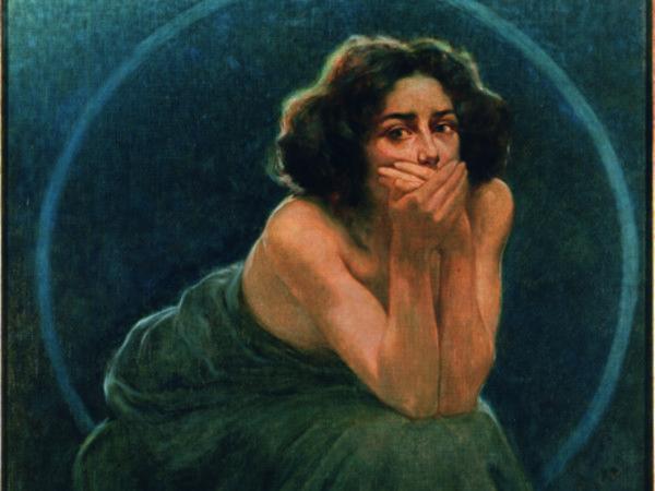 Giorgio Kienerk, L'enigma umano: il Silenzio, 1900, Olio su tela, 188 x 220 cm, Pavia, Musei Civici | © Pavia, Musei Civici