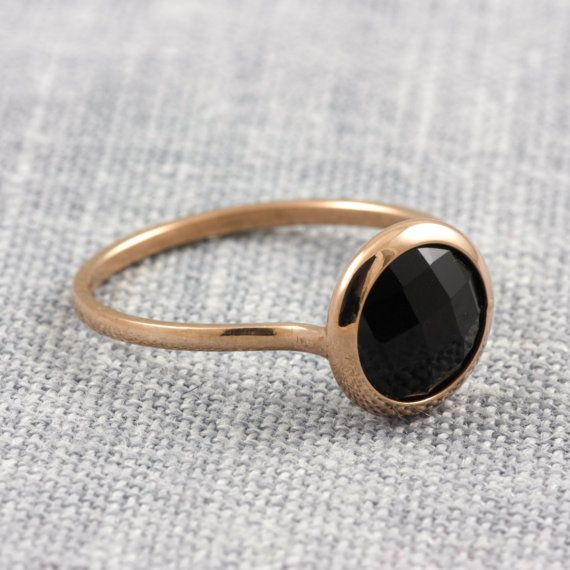 Black onyx ring 14K solid gold ring white/rose by KyklosJewelryLab