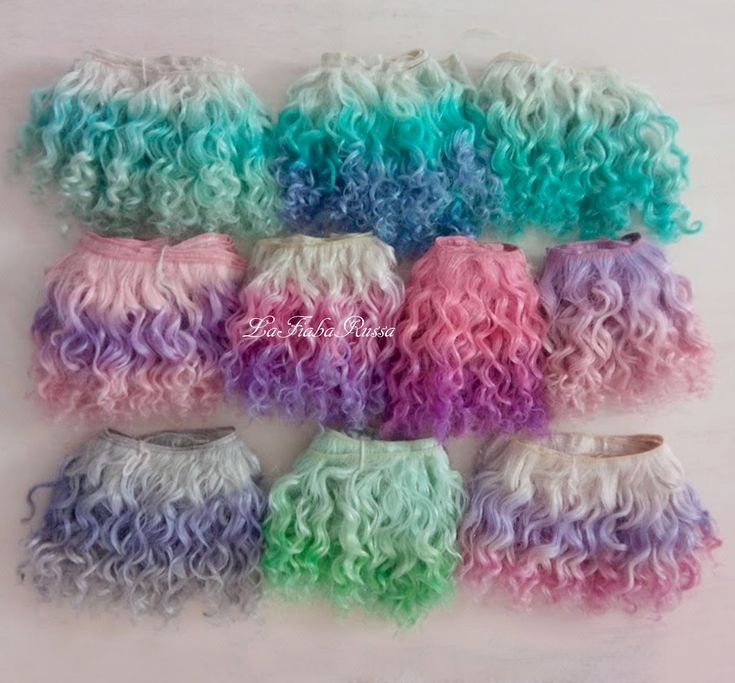 Weft doll hair mohair goat hair 1 m 10 hand dyed colors for waldorf doll wig custom Blythe wig natural Wool one of a kind by laFiabarussa
