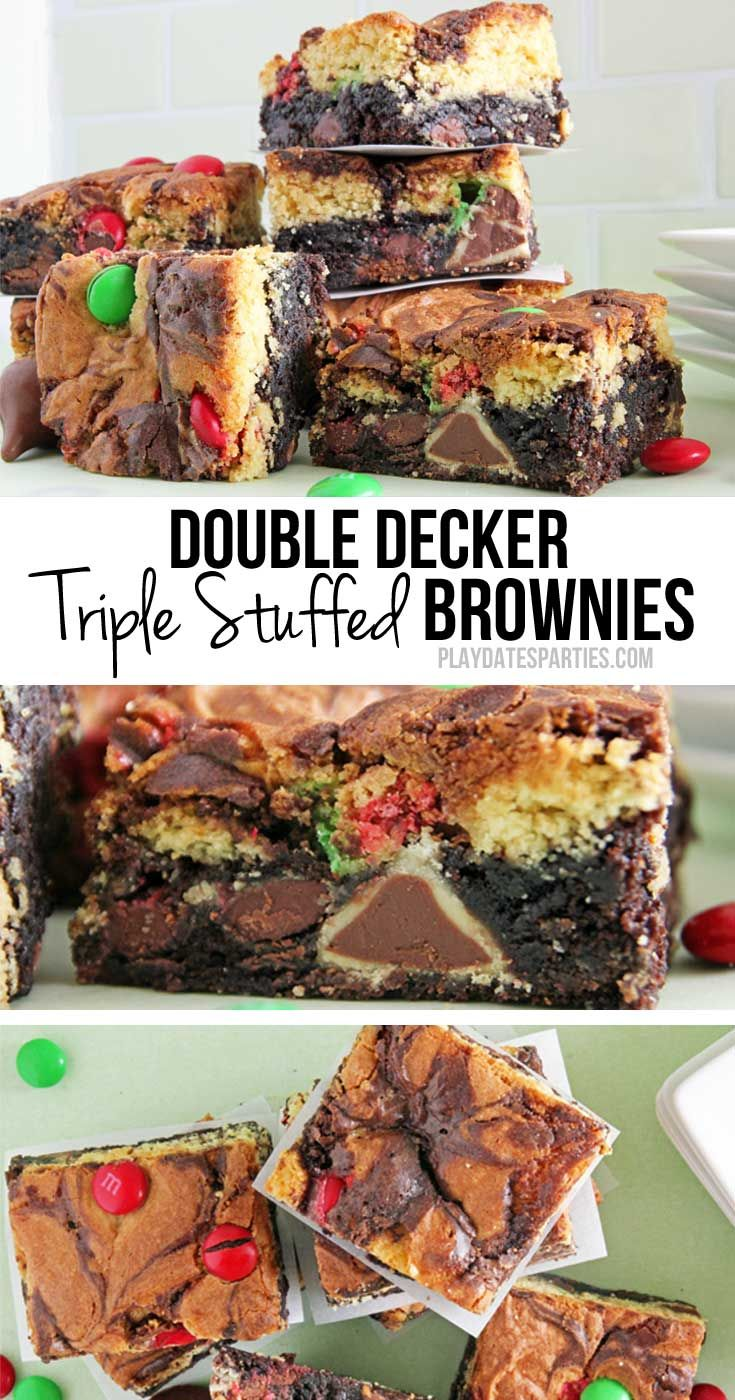 Double decker triple stuffed brownies combine swirled layers of chocolate brownie and yellow cake stuffed with Hershey's kisses, Hugs, and M&Ms. http://playdatesparties.com/2016/12/double-decker-triple-stuffed-brownies.html