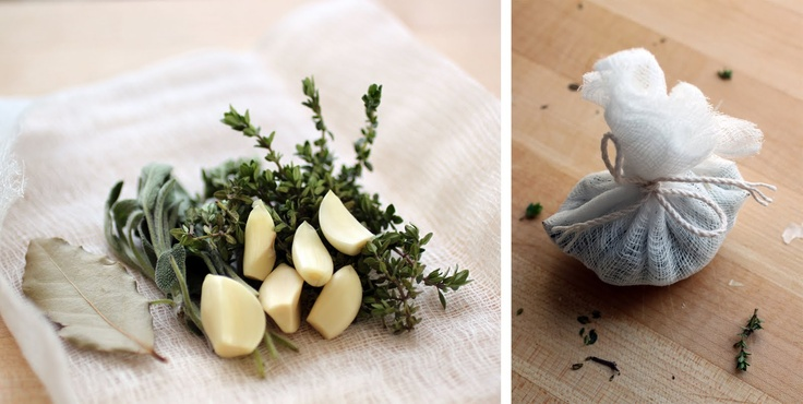 bouqet garni: thyme, garlic, bay leaf (lorber), sage,...Bay leaves are most often used whole (sometimes in a bouquet garni) and removed before serving (they can be abrasive in the digestive tract).