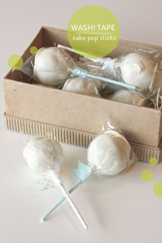 adorable washi tape closures on cake pops.