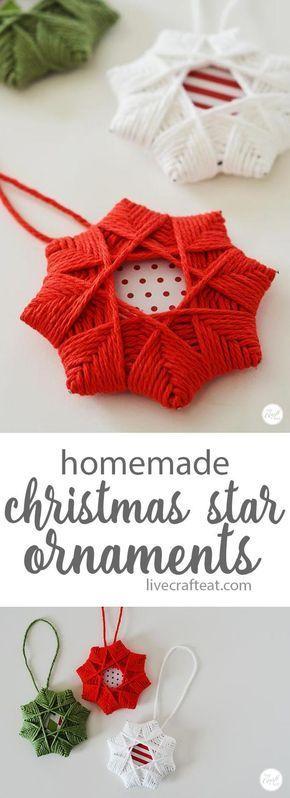 Homemade Christmas Tree Star Ornament With Yarn