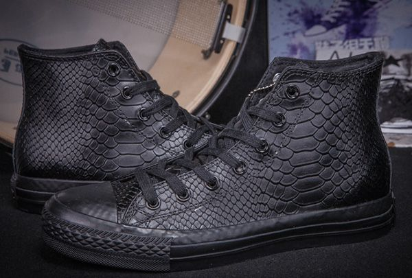 093258277fc2 All Black All Star Converse High Tops Crocodile Leather Chuck Taylor  Sneakers