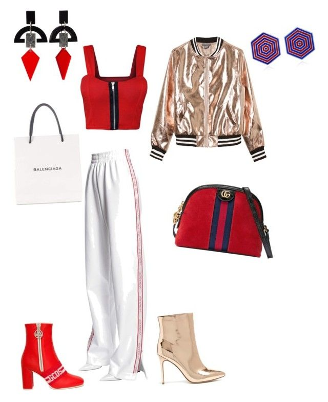"""""""Unbenannt #22"""" by shestopalova-marina on Polyvore featuring Mode, MISBHV, Sans Souci, WearAll, Forever 21, GCDS, Gucci, Balenciaga, Silhouette und Toolally"""