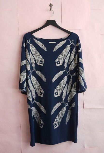 Ivana Helsinki Print Dress - Navy Blue: Feathers Prints, Dresses Adorable, Prints Dresses, Helsinki Prints, Brown Boots, Ivana Helsinki, Navy Blue, Feathers Flocked, Blue Prints