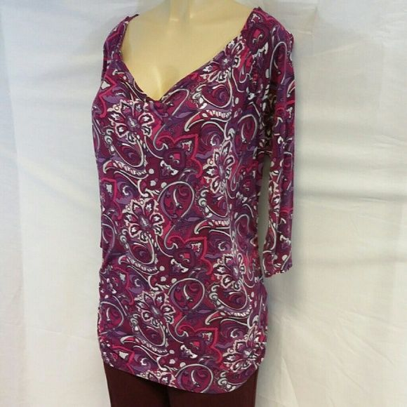 "40% BUNDLE DISCOUNT! FREE SHIPPING ON BUNDLES! Bold Flowered Paisley Design, Drape Front, XL, rusched sides, hi-lo shirt tail scooped hem, high in front, low in back, bat wing 3/4 length sleeves, colors pink fuchsia purple lavender white, 100% rayon soft and feminine,  machine washable inside out, 27"" back length,  31% front length,  21"" bust laying flat, 17"" sleeves, top only on this listing, black skirts and dress pants available in this closet on separate listings. 40% BUNDLE DISCOUNT…"