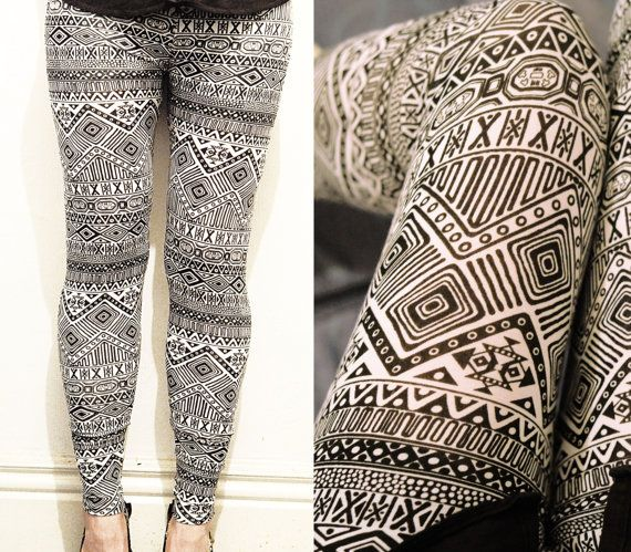 Black and White Aztec Leggings. Leggings with Geometic shapes. High-Quality four way stretch Fabric. Comfortable Tagless 4-way stretch legging fabric.