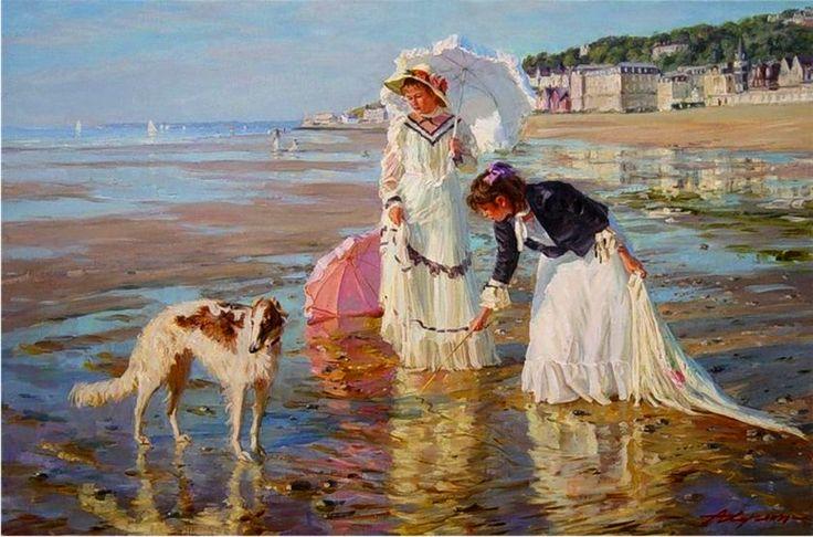 Averin, Alexander (b,1952)- Borzoi & Children, Shore