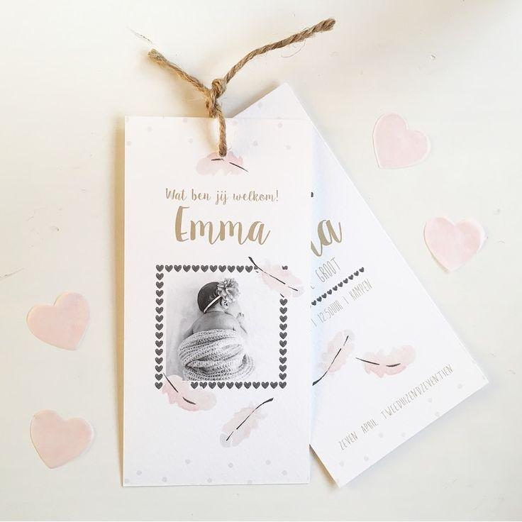 Lief label geboortekaartje met watercolor veertjes! info@zojoann.nl  Ook verkrijgbaar voor een jongentje  #geboortekaartje #watercolor #geboortekaartjes