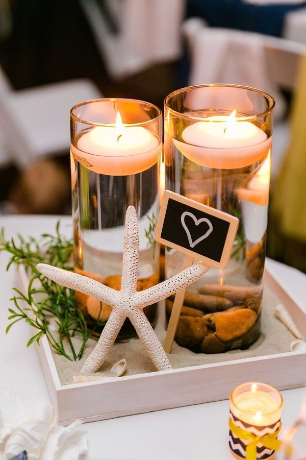17 Best ideas about Beach Wedding Centerpieces on Pinterest Sand
