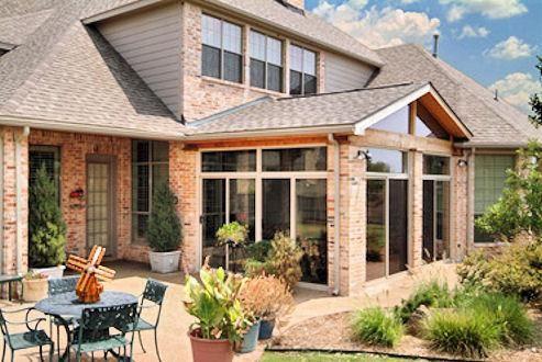 Sun Room Brick Wood Large Windows And Sliding Glass Door