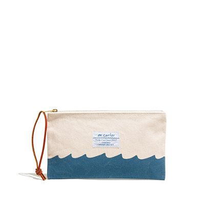 "Madewell - Canvas Pouch. A lover of all things beach (boats, seashells, tiki carvings), Brooklyn artist Milton Carter creates exactly the sort of fun, durable stuff you want with you on the sand. This cheerful canvas pouch doubles as a clutch and closes with a simple leather pull.   Cotton canvas. 11""L x 6 1/4""W. Hand wash."