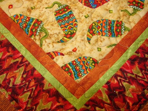 Chile Peppers Table Runner for Cinco de Mayo Mexican by susiquilts