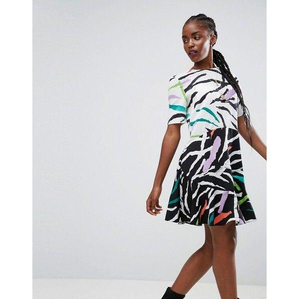 ASOS Drop Waist Mini Dress in Animal Mix Print (64 AUD) ❤ liked on Polyvore featuring dresses, multi, day party dresses, tall dresses, going out dresses, print prom dresses and prom dresses