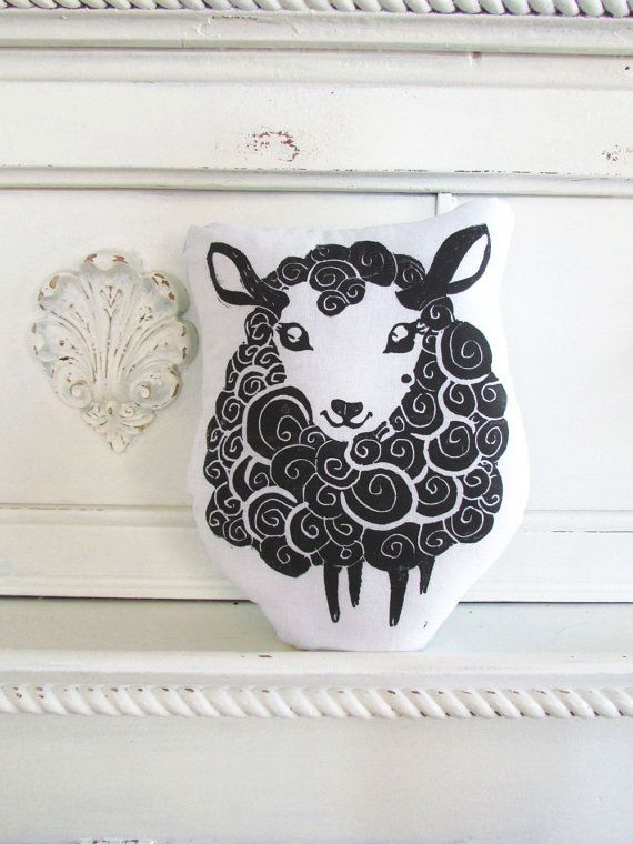 Plush Black Sheep Pillow. Hand Woodblock Printed. Choose ANY Color. Made to Order. on Etsy, $16.50