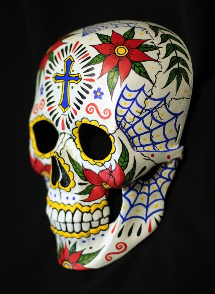 Máscara de cráneo. Pintado a mano. Pintura individual