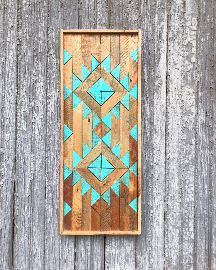 Duane Martin - Teal Barn Wood Tribal Art