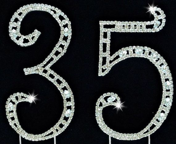 This Cake Topper that will add an unique look to your 35th birthday,wedding or anniversary cake or centerpiece  These rhinestone numbers with