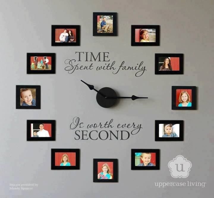 Family Photo Wall Clock...This Is A DIY Project...I Think This Is A Clever Way To Add That Personal Touch To A Bare Wall...Take Family Photos & Arrange Them In A Circle Around A Clock Kit. The Slogan Above Is Actually A Vinyl Sticker...Or You Can Paint Your Own Quote...Click On Picture For Detail & Where To Purchase This Clock Kit...