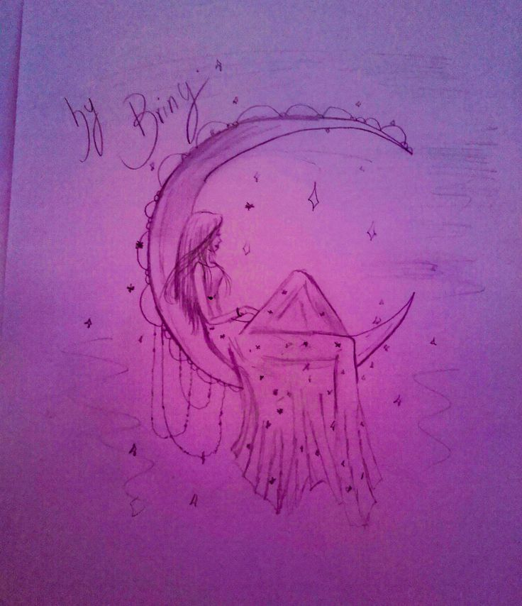 A girl in the moon #allpurplestars drawing by me ,briny <3