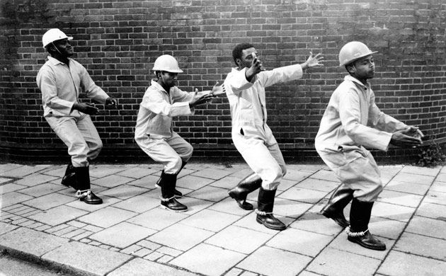 Manyanani dancers from Cape Town, demonstrating the Gumboot dance created by South African mine workers. The dancers were part of 'Africa 95', a nationwide celebration of the arts of Africa, held in the UK in the last quarter of 1995. The wide-ranging events included visual and performing arts, cinema, literature, music, public debate, television and radio shows